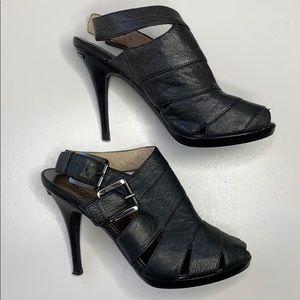 Michael Kors Leather Peep Toe Heels